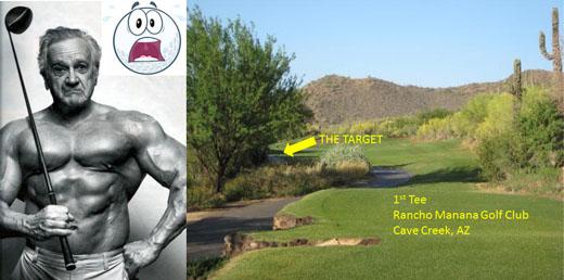 old golfer with driver at rancho manana