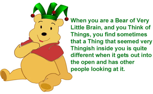 pooh with hat and quote